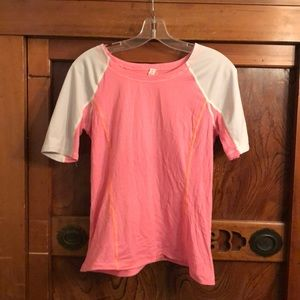 Lululemon orange & gray stripe soft s/s top sz 8